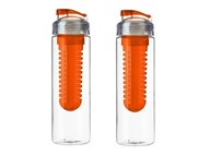2x Drinkflessen/waterflessen met fruit infuser oranje 650 ml