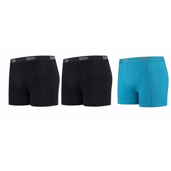 Heren ondergoed 2x zwarte 1x blauwe boxershorts Lemon and Soda M