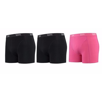 Heren ondergoed 2x zwarte 1x roze boxershorts Lemon and Soda XL