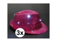 3x Toppers glitter hoedjes roze met LED verlichting